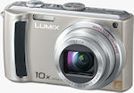 Panasonic's Lumix DMC-TZ4 digital camera. Courtesy of Panasonic, with modifications by Michael R. Tomkins.