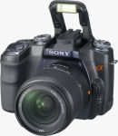 Sony's Alpha DSLR-A100 digital SLR. Courtesy of Sony, with modifications by Michael R. Tomkins.