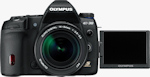 Olympus' E-30 digital SLR. Courtesy of Olympus, with modifications by Michael R. Tomkins.