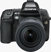 Olympus' E-5 digital SLR. Photo provided by Olympus Imaging America Inc.