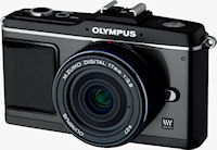 Olympus' PEN E-P2, black-bodied version. Photo provided by Olympus Imaging America Inc.