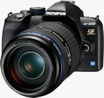 Olympus' E-520 digital SLR. Courtesy of Olympus, with modifications by Michael R. Tomkins.