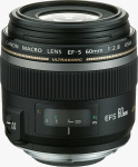 Canon's EF-S 60mm f/2.8 Macro USM lens. Courtesy of Canon, with modifications by Michael R. Tomkins.