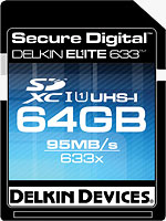 Delkin's Elite633 64GB SDXC card. Rendering provided by Delkin Devices Inc.