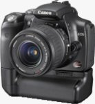 Canon's EOS-300D digital SLR, shown on the optional BG-E1 battery grip with EF-S 18-55mm lens. Courtesy of Canon Japan, with modifications by Michael R. Tomkins.