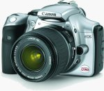 Canon's EOS 300D digital SLR. Courtesy of Canon, with modifications by Michael R. Tomkins.
