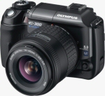 Olympus' EVOLT E-300 digital SLR. Courtesy of Olympus, with modifications by Michael R. Tomkins.