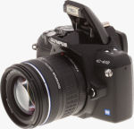 Olympus' EVOLT E-410 digital SLR. Copyright (c) 2007, The Imaging Resource. All rights reserved.