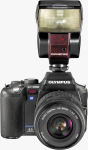 Olympus' EVOLT E-500 digital SLR. Courtesy of Olympus, with modifications by Michael R. Tomkins.
