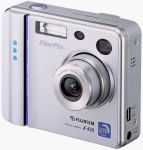 Fuji's FinePix F410 digital camera. Courtesy of Fuji, with modifications by Michael R. Tomkins.