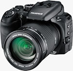 Fujifilm's FinePix S100FS digital camera. Courtesy of Fujifilm, with modifications by Michael R. Tomkins.