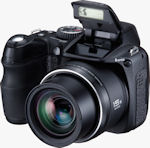 Fujifilm's FinePix S2000HD digital camera. Courtesy of Fujifilm, with modifications by Michael R. Tomkins.