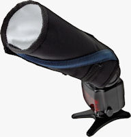 The Rogue FlashBender Small Positionable Reflector, rolled up to act as a snoot. Photo provided by ExpoImaging Inc.