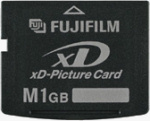 Fujifilm's 1GB xD-Picture card. Courtesy of Fujifilm, with modifications by Michael R. Tomkins.