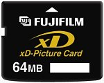 Fuji's 64MB xD-Picture Card. Courtesy of Fuji Photo Film Co. Ltd., with modifications by Michael R. Tomkins.