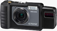 Ricoh's G700SE digital camera, shown with BR-1 laser barcode reader attached. Photo provided by Ricoh Co. Ltd.