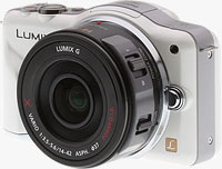 Panasonic's LUMIX G X VARIO PZ 14-42mm F3.5-5.6 ASPH. POWER O.I.S. lens, shown mounted on the Lumix GF3 camera. Copyright © 2011, Imaging Resource. All rights reserved.