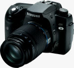 Samsung's GX-10 single-lens reflex digital camera. Courtesy of Samsung, with modifications by Michael R. Tomkins.