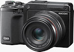 Ricoh's GXR digital camera, shown with optional APS-C sensor / 50mm equiv. lens module attached. Photo provided by Ricoh.