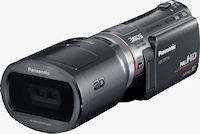 Front quarter view of the Panasonic HDC-SDT750 with 3D conversion lens attached. Photo provided by Panasonic Consumer Electronics Co.