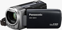 Front quarter view of Panasonic's HDC-SDX1 camcorder. Photo provided by Panasonic Consumer Electronics Co.