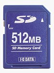 I-O Data's 512MB Secure Digital card. Courtesy of I-O Data Device Inc. with modifications by Michael R. Tomkins.