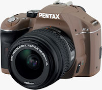 The chocolate version of the Pentax K-x digital SLR with 18-55mm kit lens. Photo provided by Pentax Imaging Co.