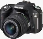 Pentax's K100D digital SLR. Courtesy of Pentax, with modifications by Michael R. Tomkins.