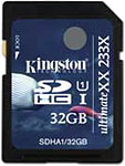 Kingston SDHC UHS-I UltimateXX card. Image courtesy of Kingston Technology Corporation.