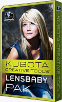 Product packaging for the Kubota Creative Tools Lensbaby Pak. Rendering provided by Kubota Image Tools.