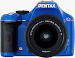 Pentax's K-x digital SLR, front view in blue body color. Photo provided by Pentax Imaging Co.