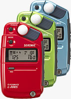 Sekonic's L-308S Flashmate digital light meter is now available in three limited-edition metallic colors. Photo provided by MAC Group.