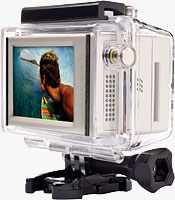 The GoPro LCD BacPac, HD HERO camera, and waterproof housing. Photo provided by Woodman Labs Inc.