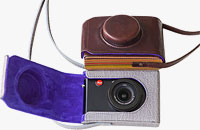 The two limited edition Paul Smith leather cases for the Leica D-Lux 5 digital camera. Photo provided by Leica Camera AG.