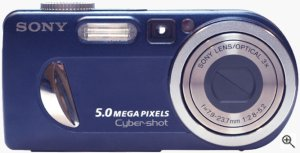 Sony's Cyber-shot DSC-P12 digital camera. Courtesy of LetsGoDigital, with modifications by Michael R. Tomkins.