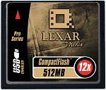 Lexar's 512MB Type-I CompactFlash card. Courtesy of Lexar Media Inc.