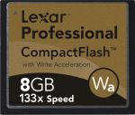 Lexar's 8GB 133x CompactFlash card. Courtesy of Lexar, with modifications by Michael R. Tomkins.