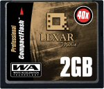 Lexar's 2GB CompactFlash card. Courtesy of Lexar, with modifications by Michael R. Tomkins.