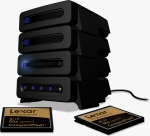 Lexar's stackable Pro Card Reader. Courtesy of Lexar, with modifications by Michael R. Tomkins.