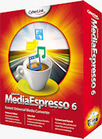 MediaEspresso 6's product packaging. Rendering provided by CyberLink Corp.