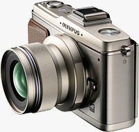 Olympus' M.Zuiko single focal lens concept, shown mounted on a PEN-series camera body. Photo provided by Olympus Imaging America Inc.