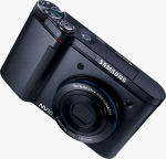Samsung's NV10 digital camera. Courtesy of Samsung, with modifications by Michael R. Tomkins.