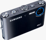 Samsung's NV3 digital camera. Courtesy of Samsung, with modifications by Michael R. Tomkins.