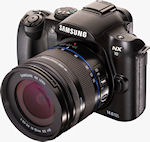 Samsung's NX10 digital camera with 18-55mm OIS lens attached. Photo provided by Samsung Electronics America Inc.
