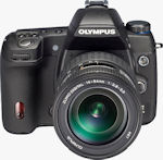 Olympus' unnamed Four Thirds prototype camera. Courtesy of Olympus, with modifications by Michael R. Tomkins.