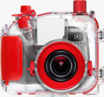 Olympus' PT-026 underwater housing. Courtesy of Olympus, with modifications by Michael R. Tomkins. Click for a bigger picture!
