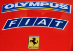 Olympus' logo on the nose of the F2003GA Ferrari Formula One car. Copyright © 2003, The Imaging Resource. All rights reserved.
