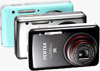 Pentax's Optio S1 digital camera in black, chrome, and green finishes. Photo provided by Pentax Imaging Co.