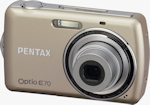 Pentax's Optio E70 digital camera, front view. Photo provided by Pentax Imaging Co.