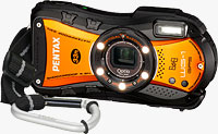 The PENTAX Optio WG-1 GPS digital camera ships in a new orange-bodied variant from next month. Photo provided by Pentax Imaging Co.